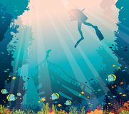 Scuba diver, sunken ship, coral reef - underwater sea vector illustration