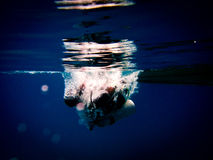 Scuba Diver at the Surface start The Dive Stock Photography