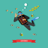 Scuba diver under water with fishes, flat design. Scuba-diver under water with tropical fishes. Dive gear and equipment, scuba, mask, flippers and wetsuit Stock Photography