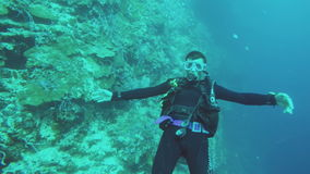 Scuba Diver underwater stock footage
