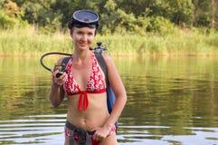 Scuba diver woman. Scuba diver young woman summer river royalty free stock photos