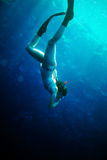 Scuba diver woman in  blue water. Stock Image