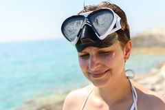 Scuba diver woman can't see because of sun Stock Photos