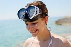 Scuba diver woman can't see because of sun Stock Photography