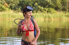 Scuba diver young woman Royalty Free Stock Photography