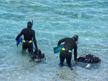 Scuba divers. Entering water stock images