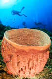 SCUBA divers and barrel sponge Royalty Free Stock Photography