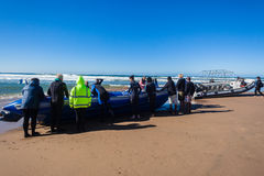 Scuba Divers Boats Beach Launch Stock Photography