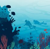 Scuba divers, coral reef, fish and underwater sea. Silhouette of two scuba divers swimming near the coral reef and sea creatures on a blue sea. Vector adventure Stock Photography