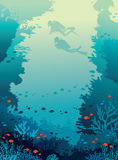 Scuba divers, coral reef, fishes, underwater sea. Silhouette of two scuba divers and coral reef with fishes on a blue sea background. Underwater wild marine royalty free illustration