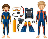 Scuba divers and different equipments Stock Images