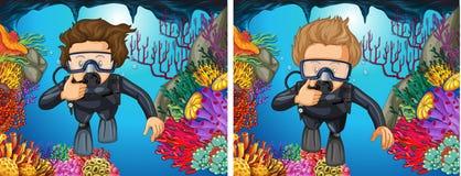 Scuba divers diving under the ocean. Illustration Stock Image