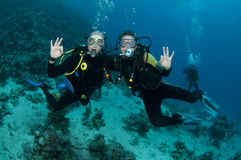 Scuba divers having fun. Scuba divers on coral reef give OK sign royalty free stock images