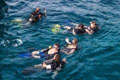 Scuba divers at Ko Tao Royalty Free Stock Image