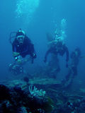 scuba divers on Saint cristopher wreck philippines Stock Photography