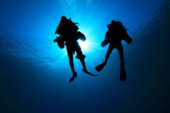 Scuba Divers silhouetted Royalty Free Stock Image