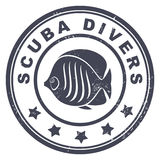 Scuba divers stamp. Illustration Royalty Free Stock Image