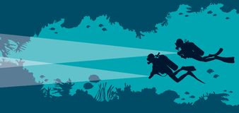 Scuba divers, underwater cave, fish, corals, sea. Silhouette of two scuba divers and underwater cave with fishes and corals on a blue sea bakground. Vector Stock Photo