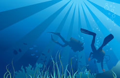 Scuba divers, underwater sea life Royalty Free Stock Photos
