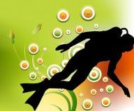 Scuba diving. Editable illustration of a scuba diving stock illustration