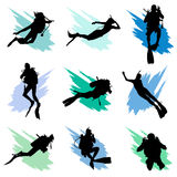 Scuba diving. Set ofscuba divers silhouette vector Royalty Free Stock Photography