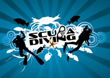 Scuba Diving. Graphic composition with several fish and divers silhouettes surrounding the words scuba diving Royalty Free Stock Photography