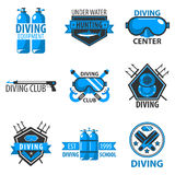 Scuba diving center or underwater hunt club vector template icons Royalty Free Stock Photos