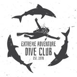 Scuba diving club. Vector illustration. Royalty Free Stock Photography