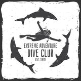 Scuba diving club. Vector illustration. Concept for shirt or logo, print, stamp or tee. Vintage typography design with diver and sharks silhouette Royalty Free Stock Photography