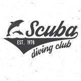 Scuba diving club. Vector illustration. Royalty Free Stock Photo