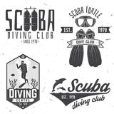 Scuba diving club. Vector illustration. Stock Photography