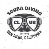 Scuba diving club. Vector illustration. Stock Image