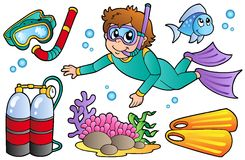 Scuba diving collection stock illustration
