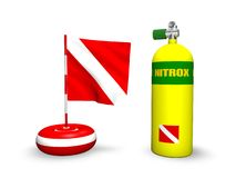 Nitrox scuba diving. 3D scuba diving cylinder for nitrox and buoy dive flag Stock Image
