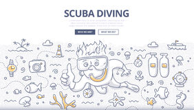 Scuba Diving Doodle Concept. Doodle  illustration of scuba diving, snorkeling, underwater world and equipment. Concept of undersea adventure for web banners Royalty Free Stock Photo