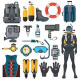 Scuba diving equipment accessories collection. Diver man in underwater wetsuit. vector illustration
