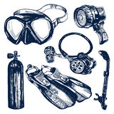 Scuba Diving Equipment Sketch Set. Including mask, snorkel, air tank, fins, regulator and dive light Royalty Free Stock Image
