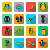 Scuba diving equipment. Sport underwater, water sea, glove and flashlight, mask and snorkel Royalty Free Stock Photo