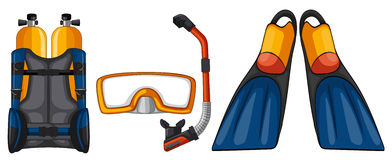 Scuba diving equipments in yellow and blue color Royalty Free Stock Image
