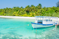 Scuba diving excursion boat docked at the pier. In Maldives Stock Photography