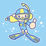 Scuba diving exercise in boys Mascot. Sports Character Design Se Stock Photos