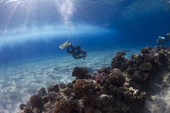 Scuba Diving. A few scuba-divers are swimming at a tropical reef while in the background a boat is passing by royalty free stock photos
