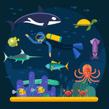 Scuba diving with fishes and coral reef vector illustration. Diver and fishes vector illustration. Diving travel poster. Vacation time, activity diving man and Royalty Free Stock Images