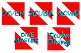 Scuba diving. Flag, diver, divemaster, aowd Stock Photography