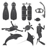 Scuba diving gear. Scuba diving gear and divers. Vector illustration. Set include dive mask, snorkel, fins, divers and sea animals. Elements on the theme of the Royalty Free Stock Photography