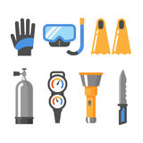 Scuba diving gear flat icon set. Scuba diving gear flat isolated icons. Gloves, mask, snorkel, fins, air tank, pressure gauge, flashlight and knife Royalty Free Stock Images