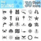 Scuba diving glyph icon set, underwater symbols Stock Photo