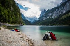 Scuba diving. In high mountains lake Austria Stock Image
