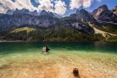 Scuba diving. In high mountains lake Austria Royalty Free Stock Photo