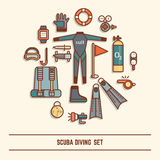 Scuba diving icon set Stock Photo